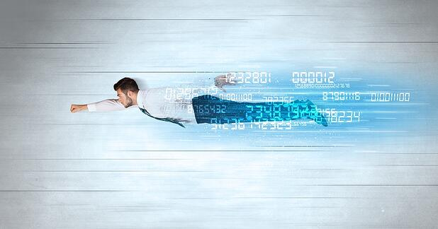 Businessman flying super fast with data numbers left behind concept-1