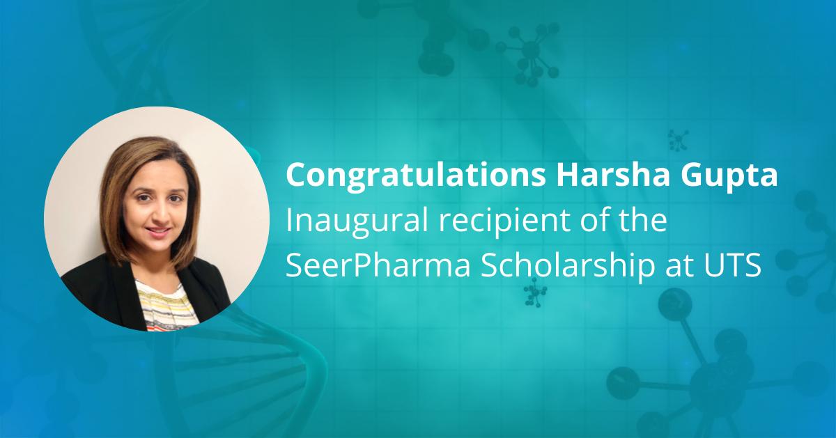 Harsha Gupta Inaugural recipient of SeerPharma Scholarship