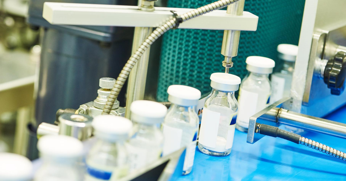 Pharmaceutical Manufacturing Sterile Vials of Freeze Dried Product on being Labelled
