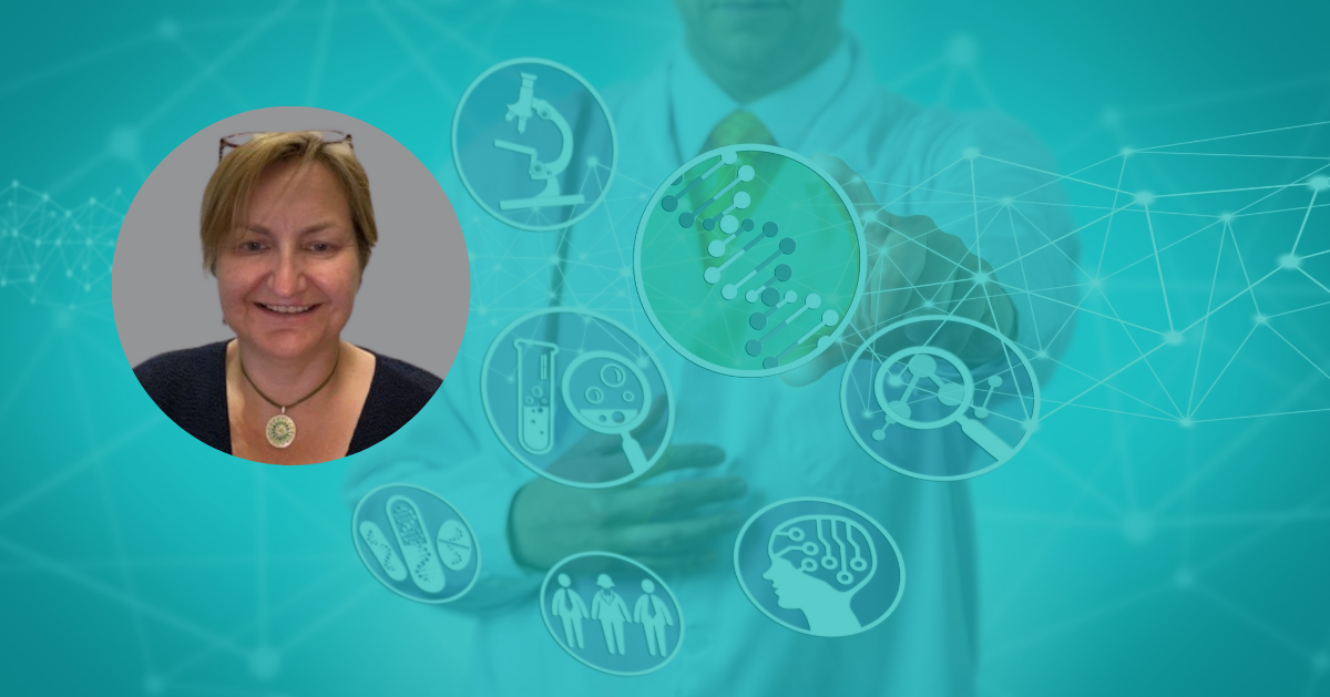 Teresa Domagala profile photo with biological drug discovery background